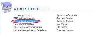 chọn chức năng backup trong Direct Admin